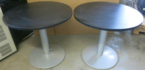 2x Black 800mm Height Adjustable 720mm-1130mm Circular Meeting/Reception Table